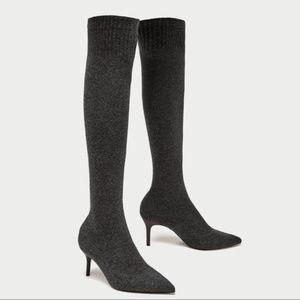 Zara Charcoal Gray Knee High Sock Boots Size 6.5